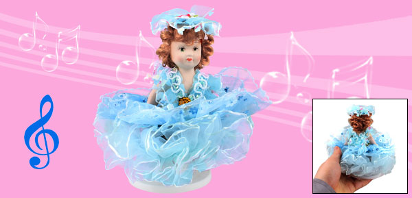 Brown Hair Blue Skirt Decor Lovely Girl Wind up Clockwork Music Box Fur Elise