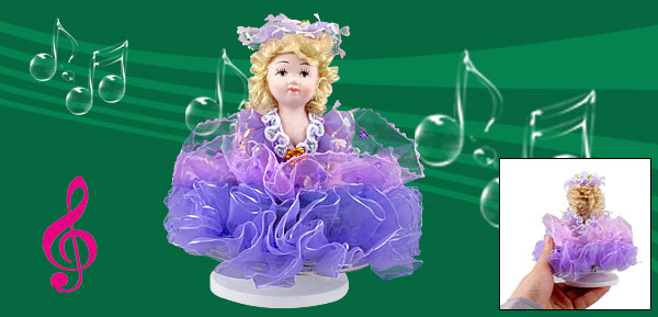 Beige Hair Purple Skirt Lovely Girl Wind up Clockwork Music Box Fur Elise