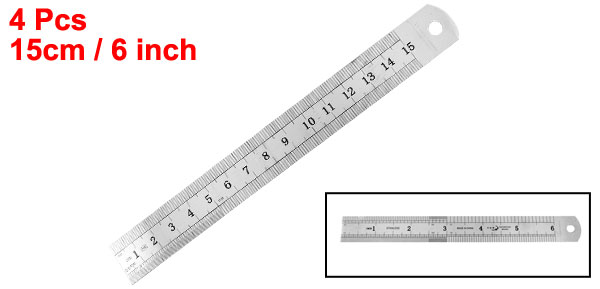 4 Pcs Metric 15cm 6 Inch Stainless Steel Straight Ruler Measuring Tool
