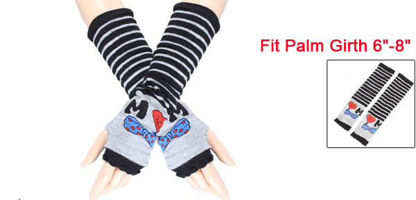Bow Tie Heart Pattern Elastic Fingerless Arm Warmers Gloves Pair for Lady