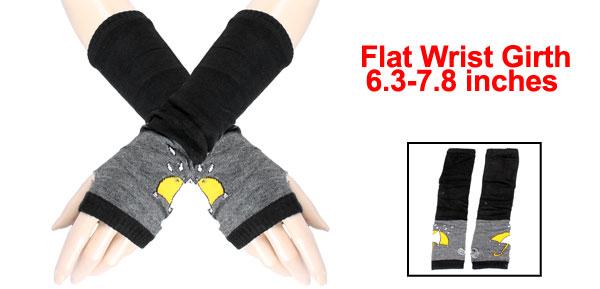 Woman Yellow Umbrella Print Elastic Fingerless Elbow Long Gloves Black Gray Pair