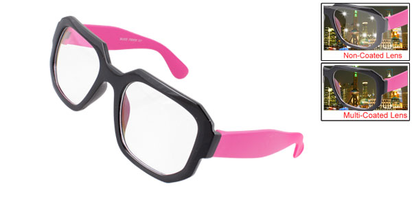Magenta Wide Arm Black Full Rims Multi Coated Lens Lady Plain Glass