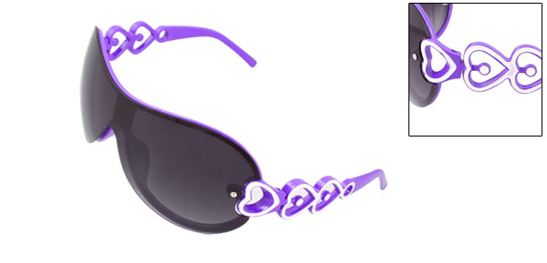 Purple Plastic Full Frame Heart Decor Sunglasses for Children