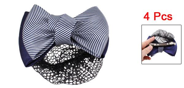4 Pcs Blue White Striped Bowknot Decor Snood Net Barrette Hair Clip Bun Cover