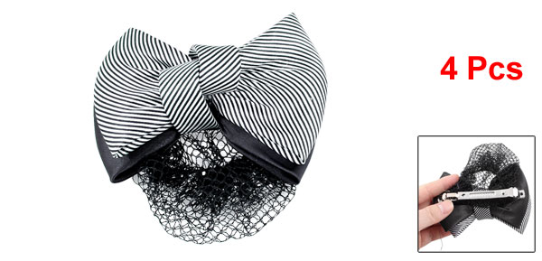 4Pcs Black White Striped Polyester Bowknot Barrette Hair Clip w Nylon Snood Net