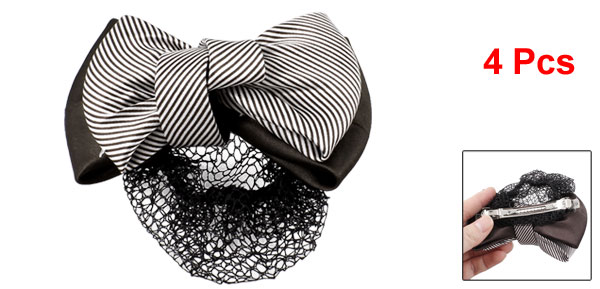 4Pcs Coffee Color White Striped Polyester Bowknot Barrette Hair Clip w Snood Net