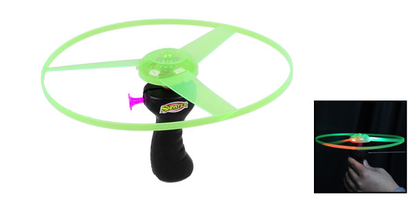 Children Black Plastic Grip Green Magenta Dial Flying Saucer Helicopter Toy