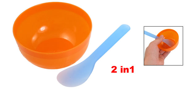 2 in 1 DIY Facial Mask Mixer Plastic Stick Bowl Orange Blue for Lady