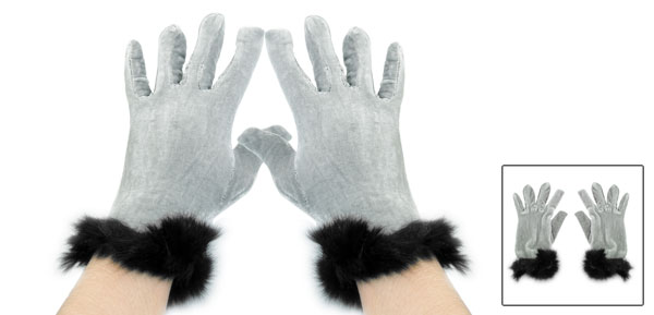 Black Gray Faux Fur Accent Full Finger Warmer Gloves for Ladies