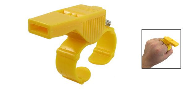Yellow Referee Trainer Training Match Pealess Finger Grip Whistle