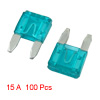 100 Pcs Automotive Car Boat Truck 15A Blade Fuse Blue w Case Hold...
