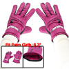 Winter Outdoor Cycling Magenta Faux Leather Full Finger Warm Glov...