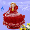 Red Dress Brown Hair Doll Design Wind up Clockwork Music Box Fur ...