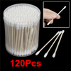 120 Pcs Make up Disposable Wooden Tube Double End Cotton Swab Bud...