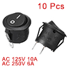 10Pcs AC 6A 10A 250V On Off Snap in SPST Round Boat Rocker Switch...