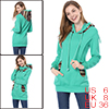 Lady Cyan Blue Long Sleeve Pullover Design Novelty Prints Detail Tunic Hoody S