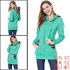 Ladies Cyan Blue Hook and Loop Fastener Two Pockets Front Casual Tunic Hoodie M
