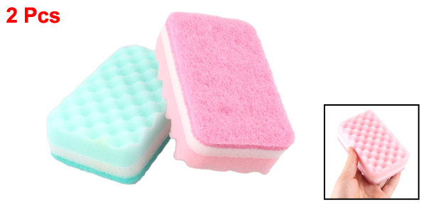 Kitchen Dishwashing Bowl Pink Green Sponge Scrub Scouring Pads Cleaners 2 Pcs