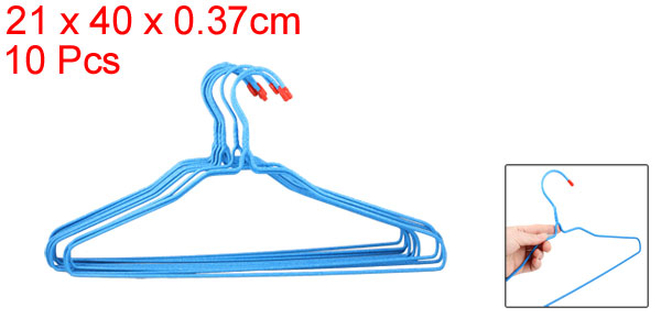 10 Pcs Plastic Coated Metal Clothes Trousers Skirt Hangers Blue for Lady Man