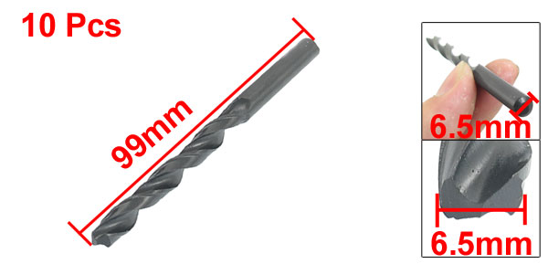 6.5mm Dia Split Point 99mm Length High Speed Steel Twist Drill Bit 10 Pcs