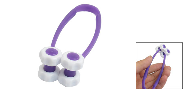 Beaty Tool Purple White Plastic 4 Flower Roller Facial Slimming Massager