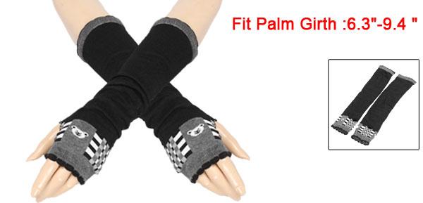 Ladies Thumbless Fingerless Bear Pattern Arm Long Gloves Warmers Black Pair