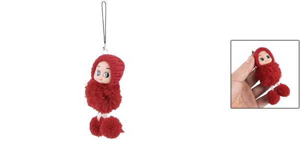 Red Knitting Hat Doll Pendant Mobile Cell Phone Charm Strap
