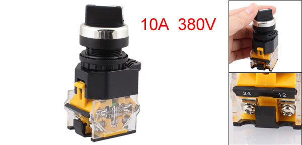 On-Off-On 4 Screw Terminals Rotary Selector Push Button Switch Ith 10A Ui 380V