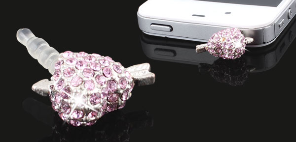 Light Pink Bling Heart 3.5mm Dust Earphone Cap Plug Stopper for iPhone 3 4 4S 5G