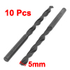 10 Pieces HSS 5mm Diameter Tip Round Shank Twist Drill Bit Black