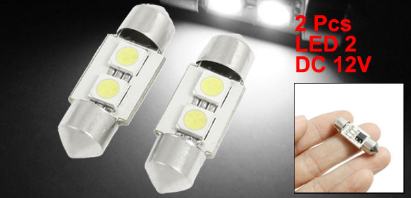 2 Pcs 33mm Car White 2 SMD 5050 Festoon LED Light Dome Reading Lamp