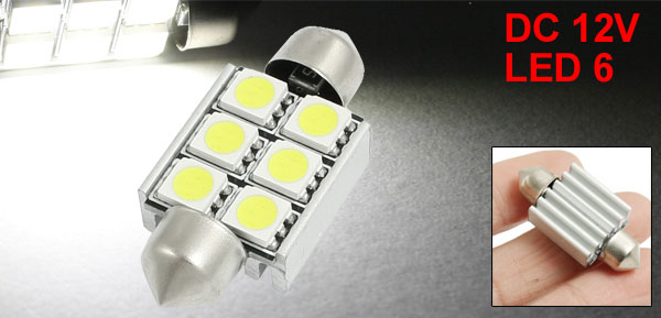 White 6 5050 SMD Canbus Car License Plate Festoon LED Light Lamp 37mm w Heat Sink