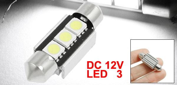 White 3 5050 SMD Canbus License Plate Festoon LED Light Lamp 36mm