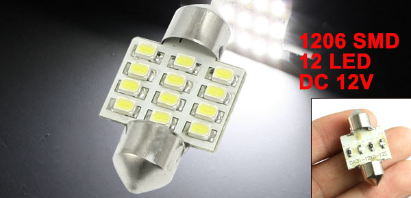 31mm Car Interior White 12 1206 3528 SMD LED Festoon Dome Light Reading Lamp
