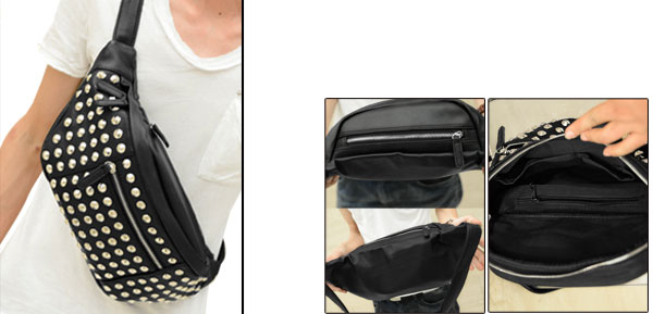 Korea New Fashion Rivets Front Decor Adjustable Strap Mens Crossbody Black Bag