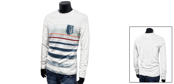 Spring New Fashion Long Sleeve Stripe Prints Mens White Slipover Basic Tee M