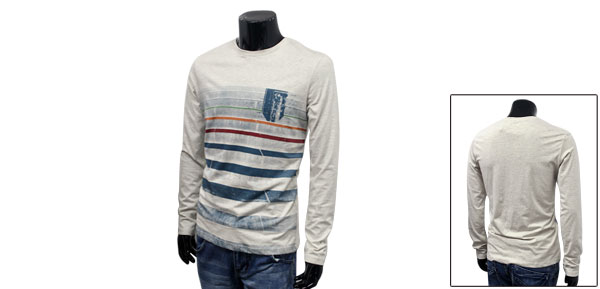 Korea New Fashion Off-white Contrast Stripe Prints Pullover Cozy T-shirt For Mens M