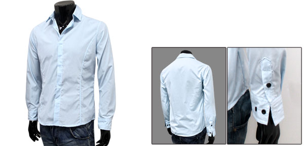 Mens Sky Blue Fashion Long Sleeve Button Closure Front Spring Primer Shirt M