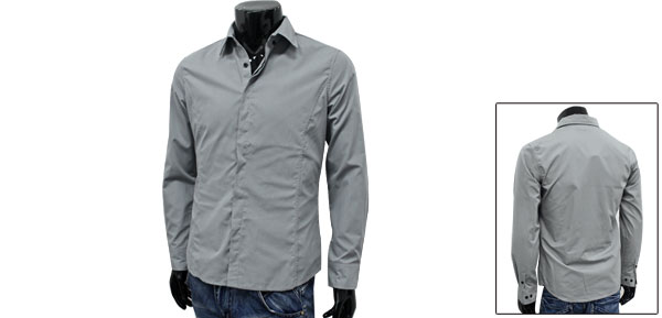Mens New Fashion Gray Single Breasted Spring Form-fitting Cozy Shirt M