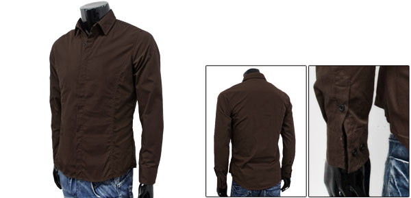 Korea Spring Fashion Point Collar Button Closure Front Mens Coffee Color Shirt M