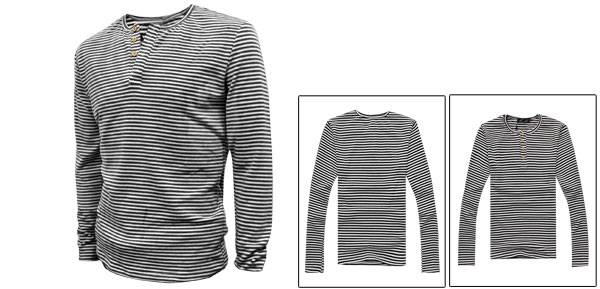 Mens Long Sleeve Wooden Button Contrast Black White Stripes Pullover Shirt M