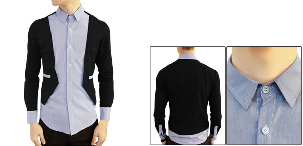 Mens Spring New Fashion Single Breasted Layered Tops Black Light Blue Shirt M
