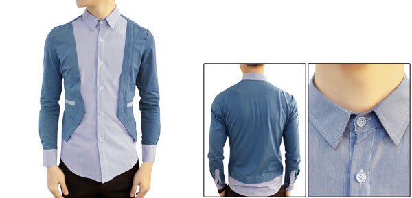 Korea New Fashion Steal Blue Long Sleeve Button Up Patch Spring Shirt For Mens M