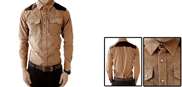 Mans Snap Fastening Faux Leather Detail Long Sleeve Corduroy Shirt Khaki M