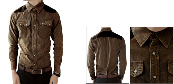 Korea Fashion Long Sleeve Flap Pockets Faded Shirt For Man Brown M