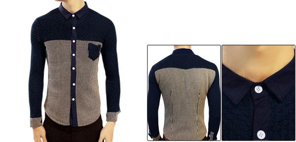 Mens Point Collar Long Sleeve Fashion Spring Knit Details Dark Blue Beige Shirt S