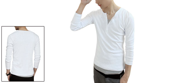 Man Long Sleeve Round Neck Button Closure Casual Stretch Henley Shirt S White