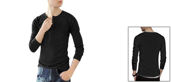Spring Korea Long Sleeve Round Neck Basic Shirt Dark Gray For Man S