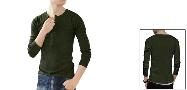 Mans Five Buttons Long Sleeve Henley Shirt Tops Olive Green Tee S