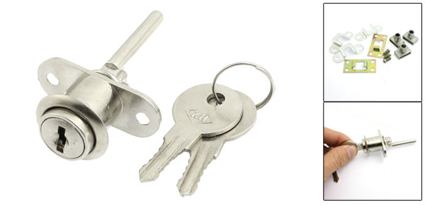 60mm Height Furnitures Drawer Silver Tone Metal Lock w 2 Pcs Keys